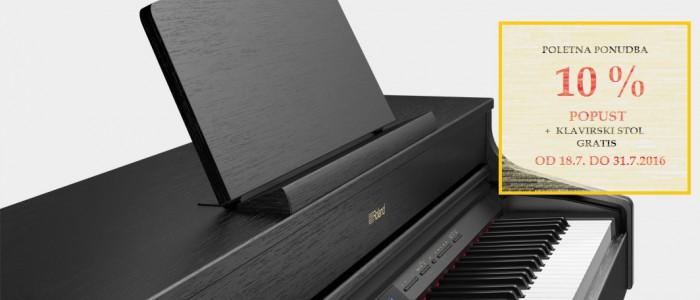 AKCIJA OD 18.7.2016 - 31.7.2016 ... Električni klavir ROLAND HP 605  - 10% + darilo klavirski stol